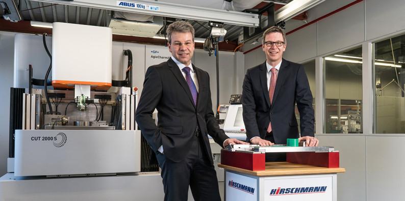 Die Geschäftsführung von HIRSCHMANN, Herr Harter (links) mit Herrn Jesek (rechts)